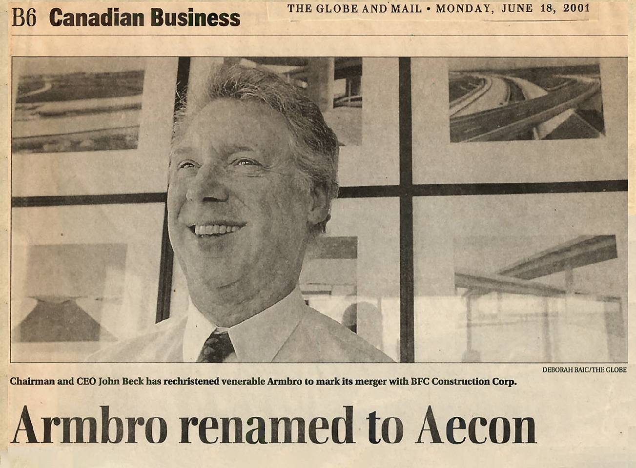 Armbro renamed to Aecon newspaper