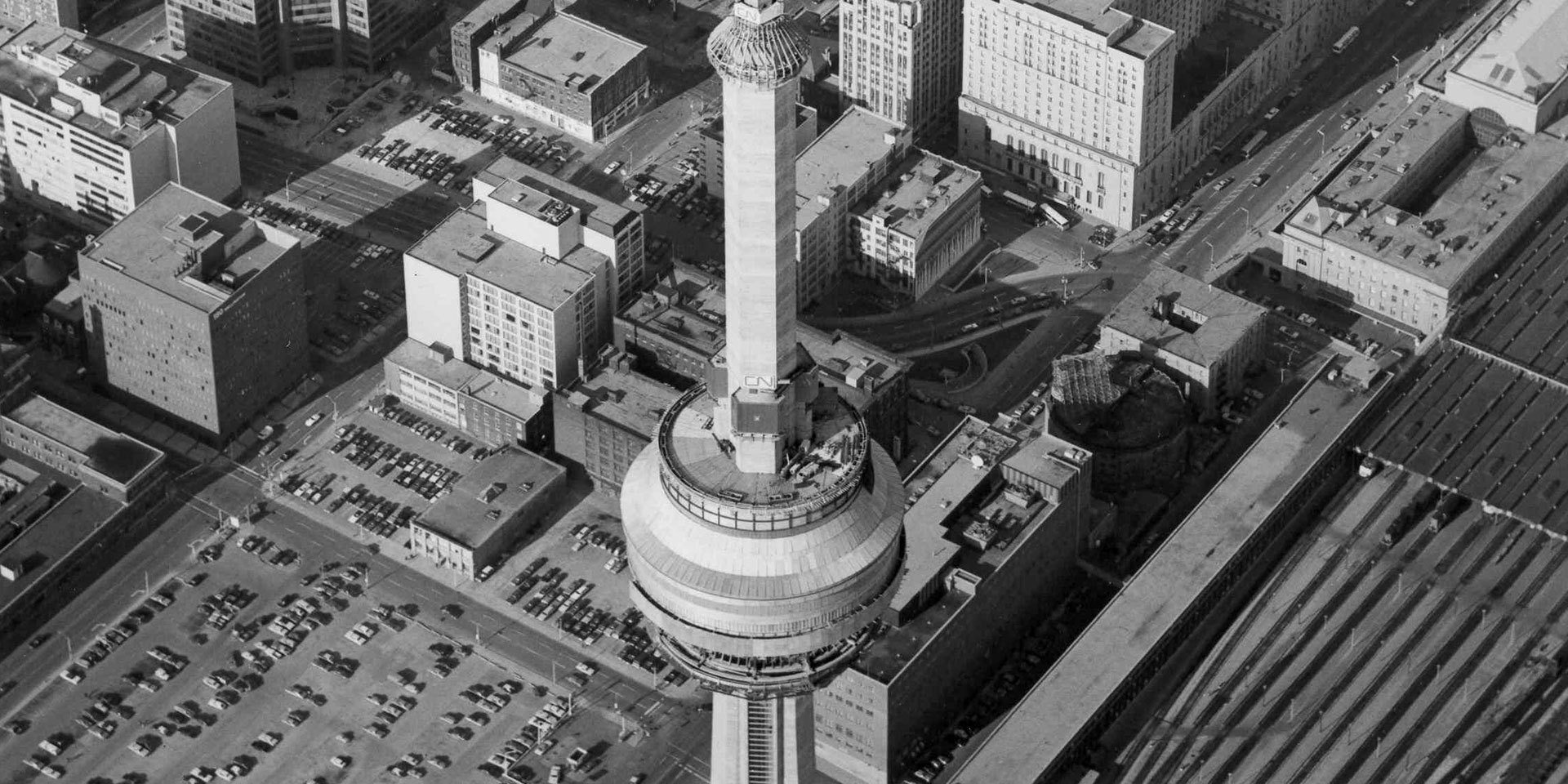 CN Tower April 75 Black and White
