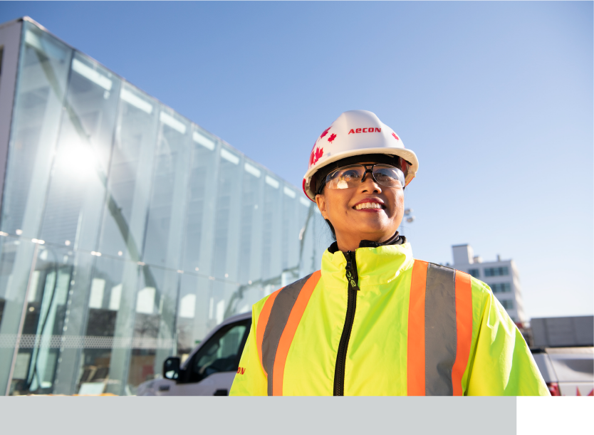 Woman on site wearing safety gear