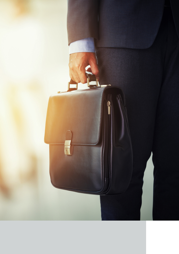 Man in suit holding briefcase