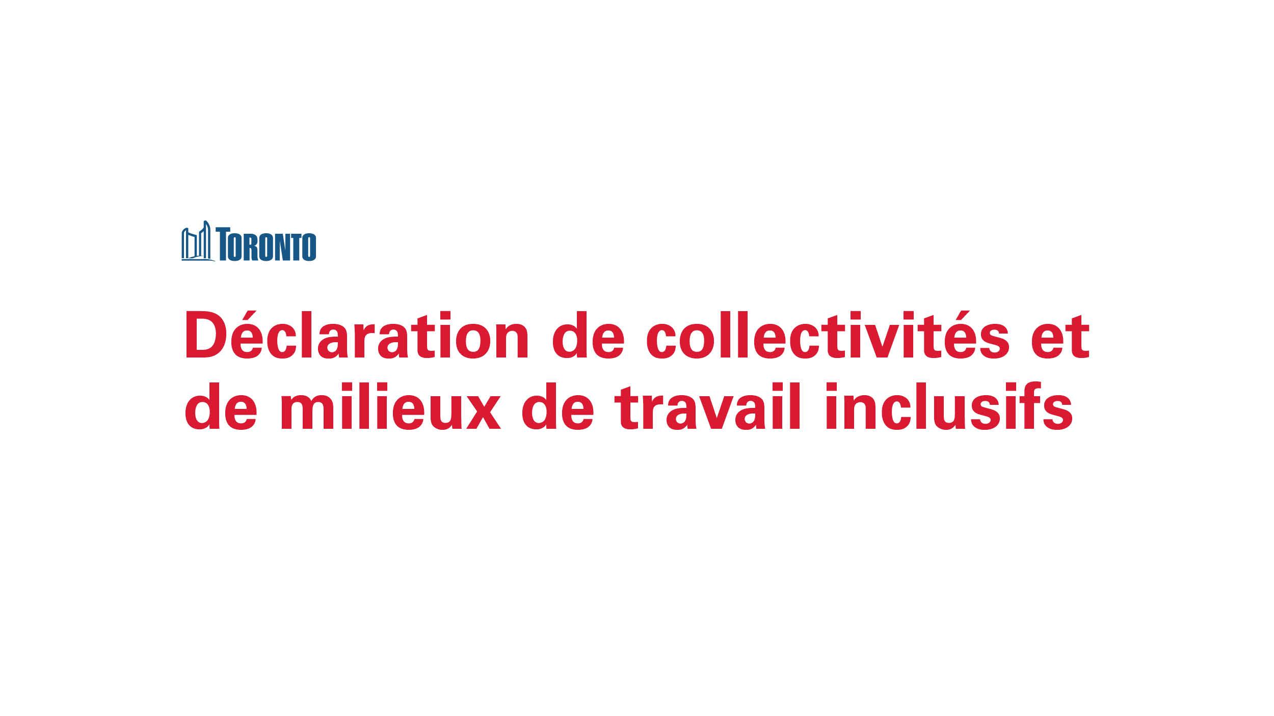 Declaration de collectivites et de milieux de travail inclusifs
