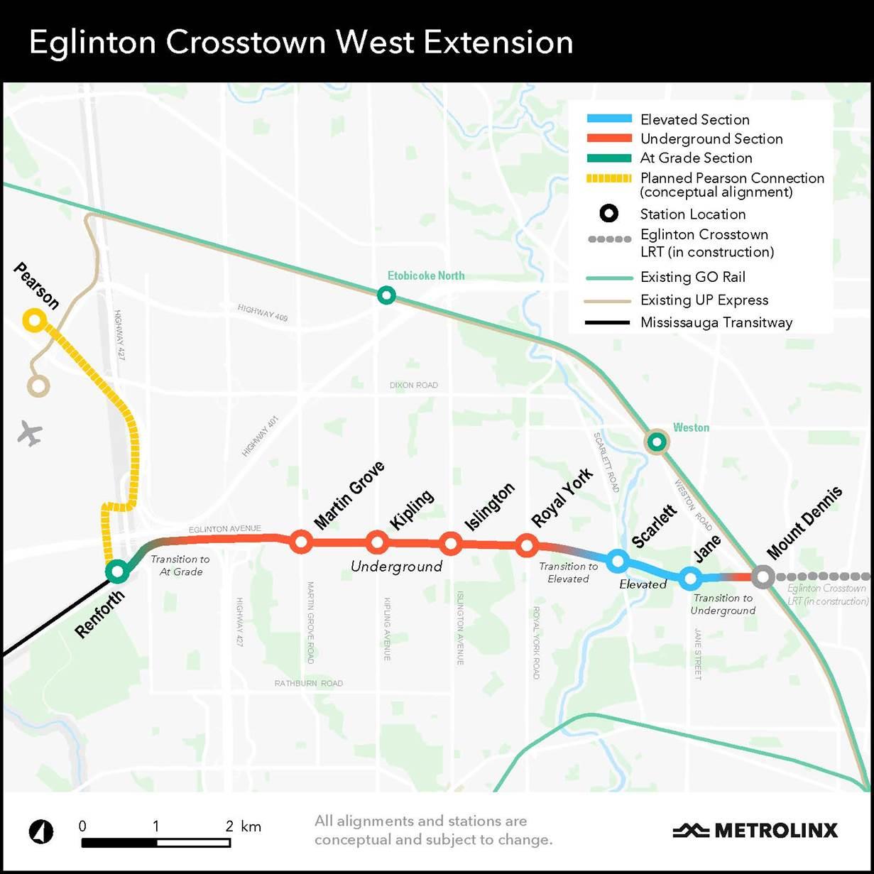 Eglinton Crosstown West Extension Map