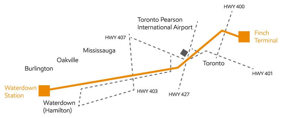 Map of Waterdown to Finch Project location